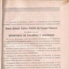 Libros de segunda mano: REPERTORIO DE PALABRAS Y MODISMOS. NUEVO MÉTODO TEÓRICO DE LENGUA FRANCESA. RM71255.. Lote 51704397