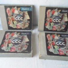 Libros de segunda mano: CURSO DE FRANCES POLIGLOPHONE CCC COMPLETO 12 DISCOS 45 T Y 24 LECCIONES NIVEL1 Y 2 EPOCA 1950 - 60. Lote 63497636