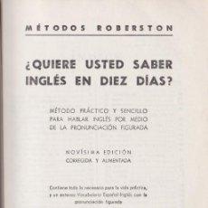 Libros de segunda mano: ¿QUIERE USTED SABER INGLÉS EN DIEZ DÍAS? * SOPENA *. Lote 106490683