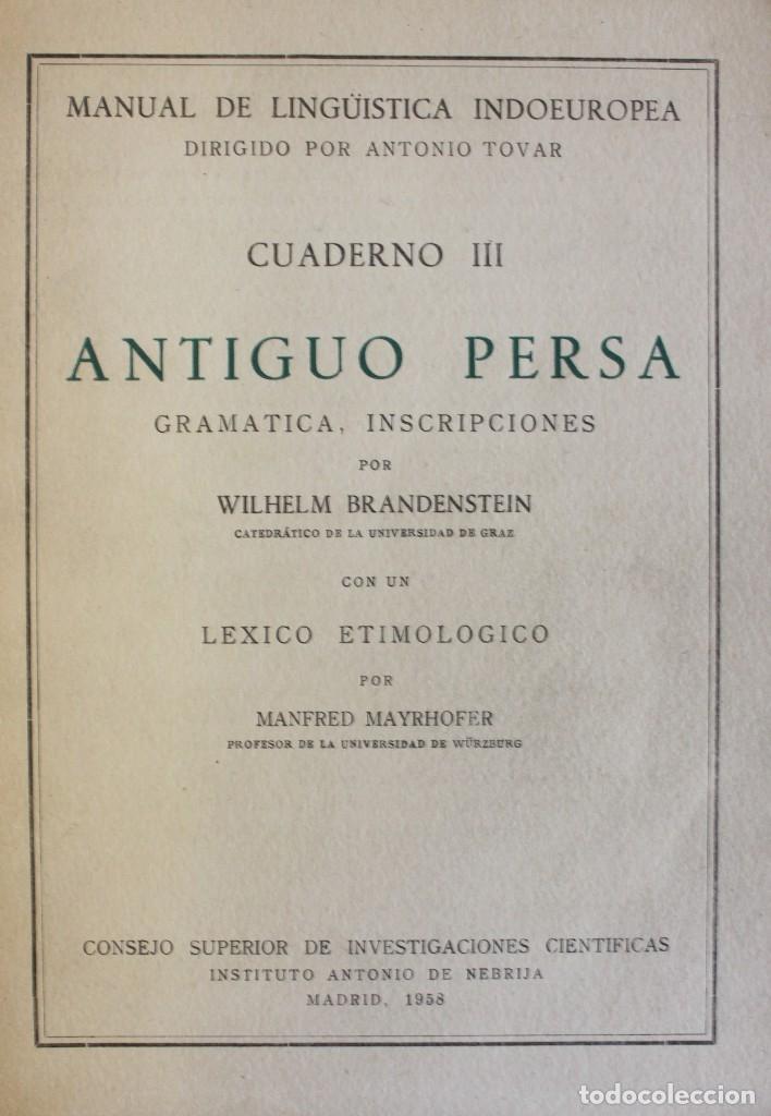 ANTIGUO PERSA. GRAMÁTICA. INSCRIPCIONES. - BRANDENSTEIN, WILHELM. - MADRID, 1958. (Libros de Segunda Mano - Cursos de Idiomas)