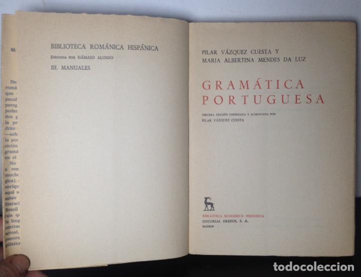 Libros de segunda mano: Gramática portuguesa, Biblioteca Románica Hispánica, 9, Madrid, 3ª edición corregida Gredos, 1971. - Foto 8 - 147791657