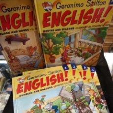 Libros de segunda mano: GERONIMO STILTON ENGLISH – ANGLÈS – CATALÀ . 18 LIBROS Y CUADERNOS DE EJERCICIOS.. Lote 150278438