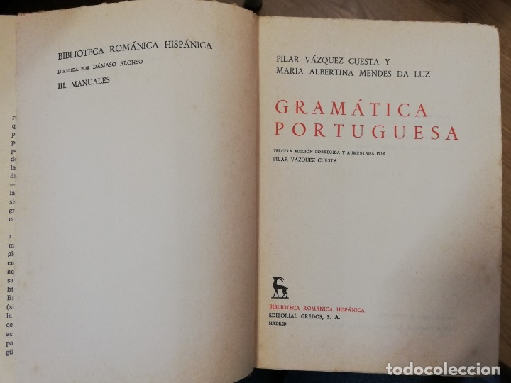 Libros de segunda mano: Gramática portuguesa. Vol II. Pilar Vázquez y María Albertina Mendes - Foto 2 - 182280747