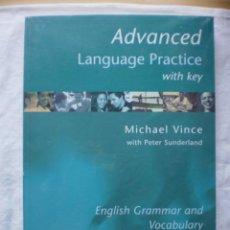 Libros de segunda mano: ADVANCED. LANGUAGE PRACTICE. WITH KEY. Lote 186147391