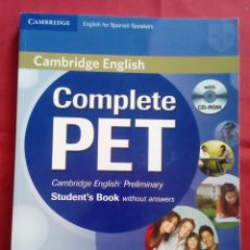 Libros de segunda mano: COMPLETE PET: STUDENT´S BOOK WITHOUT ANSWERS, CON CD - CAMBRIDGE ENGLISH. Lote 201497886