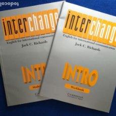 Libros de segunda mano: CURSO INGLÉS. LIBRO Y CUADERNO DE TEXTO. INTERCHANGE INTRO. RICHARDS, JACK C. EDITORIAL: CAMBRIDGE.. Lote 214550488