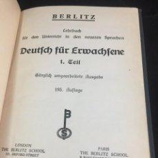 Libros de segunda mano: DEUTSCH FÜR ERWACHSENE. LEHRBUCH FUR DEN ANTERRICHT IN DEN NEUEREN SPRACHEN. BERLITZ 1936, EN ALEMÁN. Lote 251995570