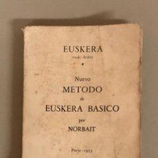 Libros de segunda mano: NUEVO MÉTODO DE EUSKERA BÁSICO POR NORBAIT,EUSKERA IRUDI-BIDEZ PARIS 1953. Lote 263262860