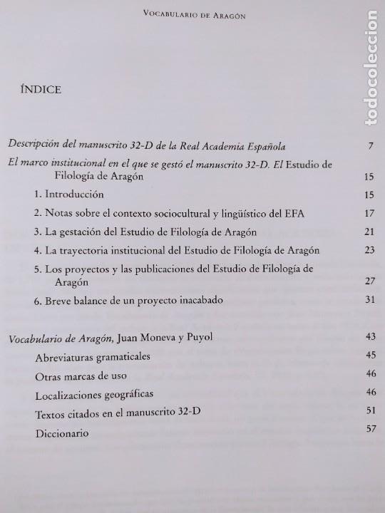 Libros de segunda mano: VOCABULARIO DE ARAGÓN / JUAN MONEVA Y PUYOL / 2004. XORDICA EDITORIAL - Foto 3 - 269295318