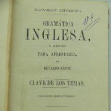 Libros de segunda mano: GRAMATICA INGLESA Y METODO PARA APRENDERLA POR EDUARDO BENOR AÑO 1866. Lote 285439738