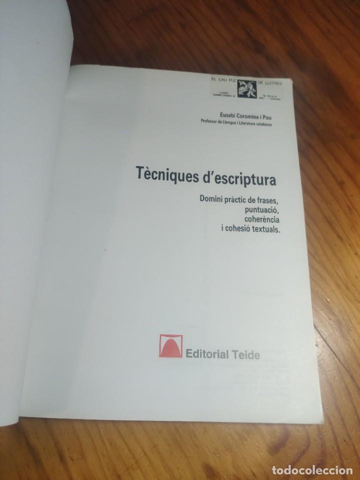 Libros de segunda mano: Tècniques descriptura. Eusebi Coromina. Teide. - Foto 2 - 287806963