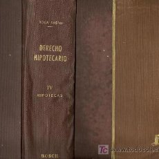 Libros de segunda mano: DERECHO HIPOTECARIO / RAMÓN Mª ROCA SASTRE - 1954. Lote 22862408