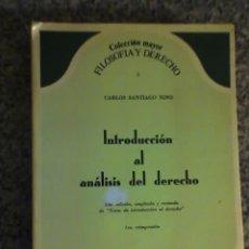 Libros de segunda mano: INTRODUCCION AL ANALISIS DEL DERECHO, POR CARLOS SANTIAGO NINO - ASTREA - ARGENTINA. Lote 17277145