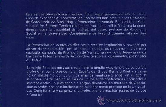 Libros de segunda mano: Promoción de ventas.Cómo se prepara una campaña.Bernardo Rabassa Asenjo.Grupo Bernard Krief - Foto 2 - 22775483