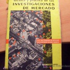 Libros de segunda mano: INVESTIGACIONES DE MERCADO ( TAGLIACARNE ) 1960 (L31). Lote 20342101