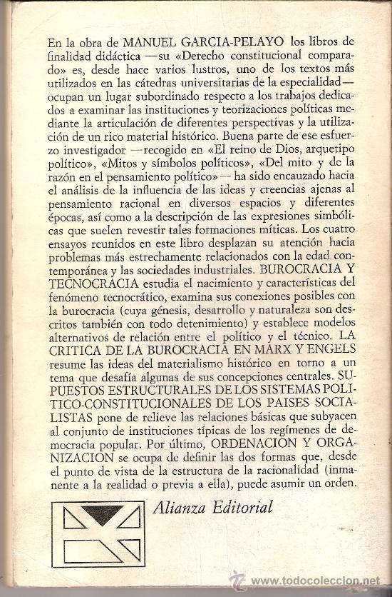 Libros de segunda mano: Burocrácia y tecnocrácia. Manuel García - Pelayo. Alianza Universidad. 1974. 1ª edición. - Foto 2 - 27389613