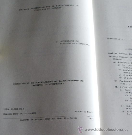 Libros de segunda mano: MATRIMONIO Y LIBERTAD CIVIL EN MATERIA RELIGIOSA - Foto 3 - 27905243