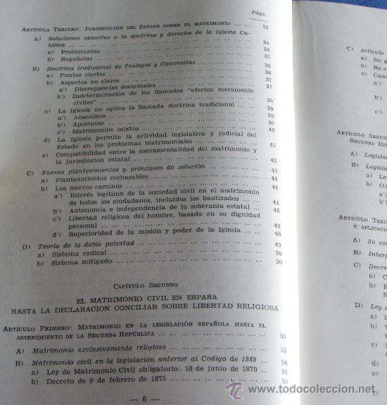 Libros de segunda mano: MATRIMONIO Y LIBERTAD CIVIL EN MATERIA RELIGIOSA - Foto 5 - 27905243