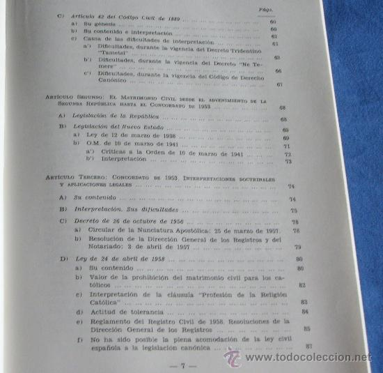 Libros de segunda mano: MATRIMONIO Y LIBERTAD CIVIL EN MATERIA RELIGIOSA - Foto 6 - 27905243