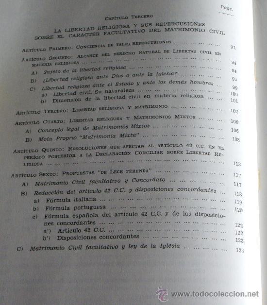 Libros de segunda mano: MATRIMONIO Y LIBERTAD CIVIL EN MATERIA RELIGIOSA - Foto 7 - 27905243