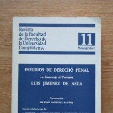 Libros de segunda mano: ESTUDIOS DE DERECHO PENAL EN HOMENAJE AL PROFESOR LUIS JIMÉNEZ DE ASÚA.. Lote 28671946