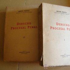 Libros de segunda mano: DOS TOMOS DERECHO PROCESAL PENAL 1945.. Lote 55167179