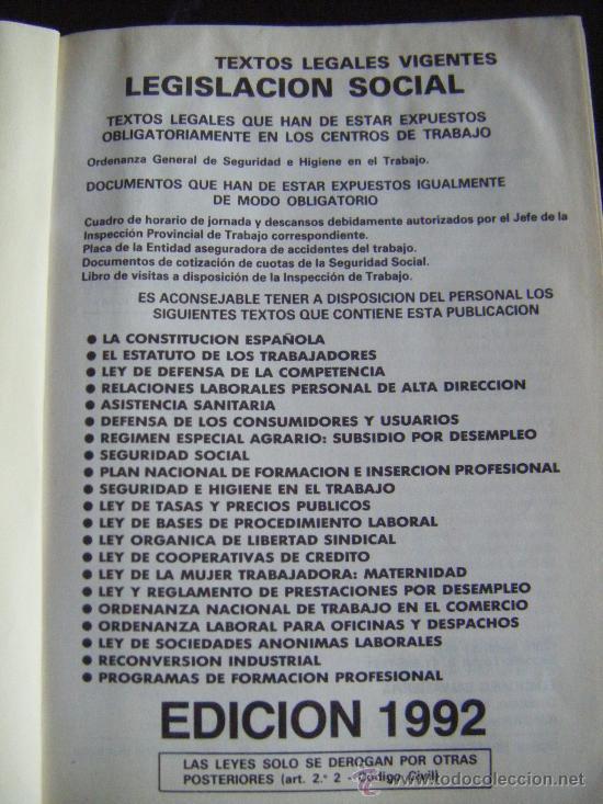 Libros de segunda mano: LEGISLACIÓN SOCIAL, TEXTOS LEGALES VIGENTES, CENTROS DE TRABAJO, 1992, EDICION SALVATIERRA, 557 PÁGI - Foto 2 - 191800472