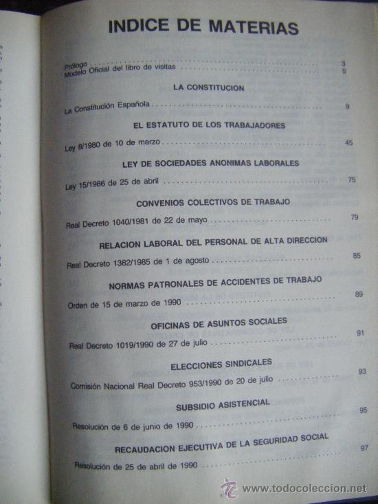 Libros de segunda mano: LEGISLACIÓN SOCIAL, TEXTOS LEGALES VIGENTES, CENTROS DE TRABAJO, 1992, EDICION SALVATIERRA, 557 PÁGI - Foto 3 - 191800472