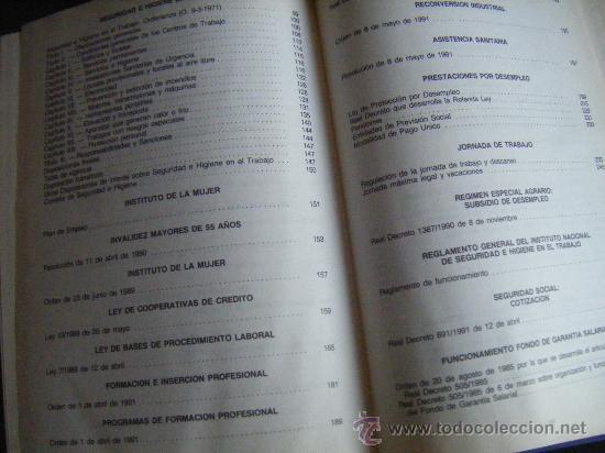 Libros de segunda mano: LEGISLACIÓN SOCIAL, TEXTOS LEGALES VIGENTES, CENTROS DE TRABAJO, 1992, EDICION SALVATIERRA, 557 PÁGI - Foto 4 - 191800472
