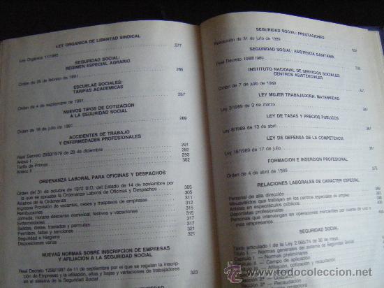 Libros de segunda mano: LEGISLACIÓN SOCIAL, TEXTOS LEGALES VIGENTES, CENTROS DE TRABAJO, 1992, EDICION SALVATIERRA, 557 PÁGI - Foto 5 - 191800472