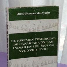 Libros de segunda mano: EL REGIMEN COMERCIAL DE CANARIAS CON LAS INDIAS EN LOS SIGLOS XVI, XVII Y XVIII. Lote 39136240