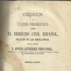 Libros de segunda mano: CÓDIGOS DE DERECHO CIVIL ESPAÑOL. BENITO GUTIÉRREZ FERNÁNDEZ. IM A. PEÑUELAS. MADRID. 1969. Lote 39327341