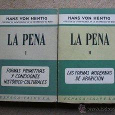 Libros de segunda mano: LA PENA. VON HENTIG (HANS) MADRID, ESPASA-CALPE, 1967.. Lote 39437875