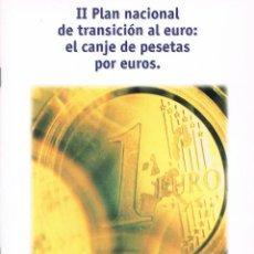 Libros de segunda mano: II PLAN NACIONAL DE TRANSICIÓN AL EURO: EL CANJE DE PESETAS POR EUROS. Lote 40995364