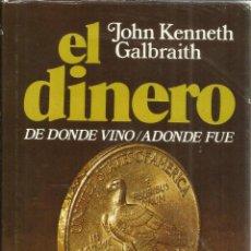 Libros de segunda mano: EL DINERO. DE DONDE VINO A DONDE FUE. J. KENNETH GALBRAITH. PLAZA & JANES. BARCELONA. 1977. Lote 41395822
