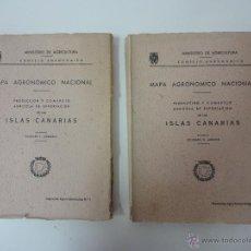 Libros de segunda mano: MAPA AGRONÓMICO NACIONAL. PRODUCCIÓN Y COMERCIO. ISLAS CANARIAS 2 VOLÚMENES. . Lote 41416627