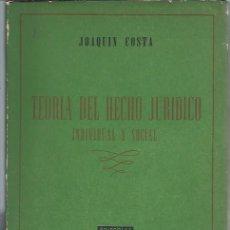 Libros de segunda mano: TEORÍA DEL DERECHO JURÍDICO INDIVIDUAL Y SOCIAL, JOAQUÍN COSTA, ED. ATALAYA BUENOS AIRES 1947. Lote 43299729
