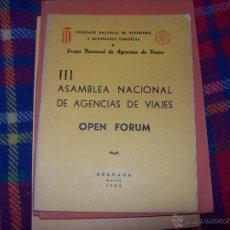 Libros de segunda mano: III ASAMBLEA NACIONAL DE AGENCIAS DE VIAJES ( OPEN FORUM).1965.GRÁNADA.VER FOTOS.. Lote 43590240