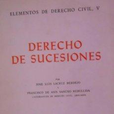 Libros de segunda mano: ELEMENTOS DE DERECHO CIVIL, V. DERECHO DE SUCESIONES. Lote 45050384