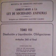 Libros de segunda mano: COMENTARIO A LA LEY DE SOCIEDADES ANÓNIMAS. Lote 45071402