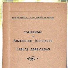 Libros de segunda mano: COMPENDIO DE ARANCELES JUDICIALES Y TABLAS ABREVIADAS. DE TOLEDO Y GARCIA DE CASTRO. 1951. Lote 45271888