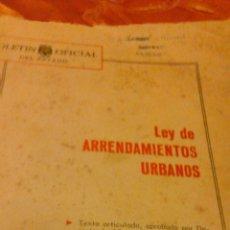 Libros de segunda mano: BOLETÍN OFICIAL. LEY DE ARRENDAMIENTOS URBANOS.MADRID 1964. Lote 45971160