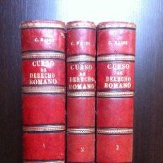Libros de segunda mano: CURSO DE DERECHO ROMANO - CARLOS MAYNZ - 3 TOMOS - JAIME MOLINAS EDITOR - BARCELONA - 1887 -. Lote 47737275