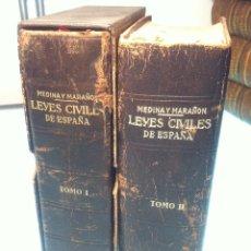 Libros de segunda mano - LEYES CIVILES DE ESPAÑA - MEDINA Y MARAÑON - 2 TOMOS - INSTITUTO EDITORIAL REUS - 1958 - - 47930670