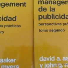 Libros de segunda mano: MANAGEMENT DE LA PUBLICIDAD DE DAVID A. AAKER Y JOHN G. MYERS (HISPANO EUROPEA) 2 VOLÚMENES. Lote 48406064