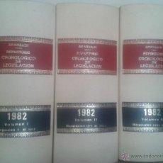 Libros de segunda mano: LOTE 3 TOMOS REPERTORIO CRONOLOGICO DE LEGISLACION ARANZADI AÑO 1982. Lote 48917649