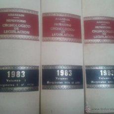 Libros de segunda mano: LOTE 3 TOMOS REPERTORIO CRONOLOGICO DE LEGISLACION ARANZADI AÑO 1983. Lote 48917654