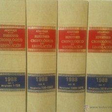 Libros de segunda mano: LOTE 4 TOMOS REPERTORIO CRONOLOGICO DE LEGISLACION ARANZADI AÑO 1988. Lote 48917743