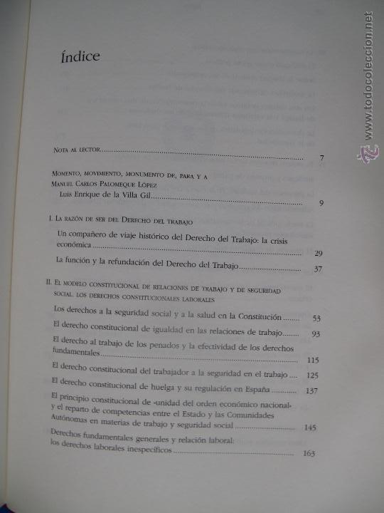 Libros de segunda mano: DERECHO DEL TRABAJO Y RAZÓN CRÍTICA - LIBRO HOMENAJE DEDICADO AL PROF. CARLOS PALOMEQUE LÓPEZ.- - Foto 4 - 48970066