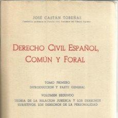Libros de segunda mano: DERECHO CIVIL ESPAÑOL, COMÚN Y FORAL. JOSÉ CASTÁN TOBEÑAS. ED. REUS. MADRID. 1956. TOMO I. 9ª EDI.. Lote 152968221